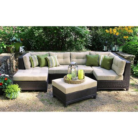 Patio Furniture Sectional Sets Ae Outdoor Hillborough 4 All Weather Wicker Patio Sectional With Sunbrella Fabric