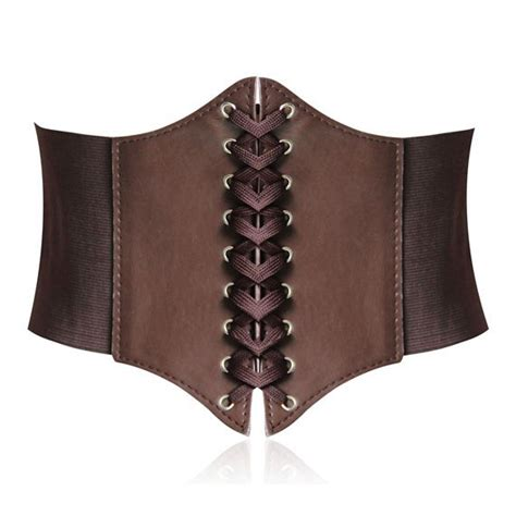 womens brown belt lace up corset style elastic cinch belt