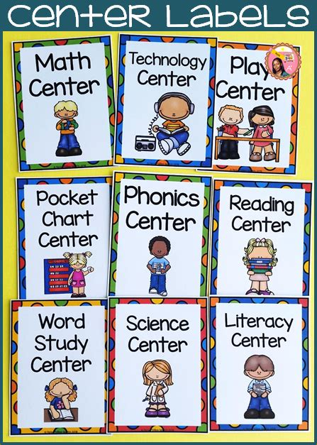 printable classroom area signs nyla s crafty teaching center labels
