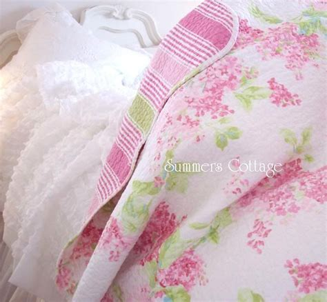 shabby pink cottage lilac chic full queen quilt set