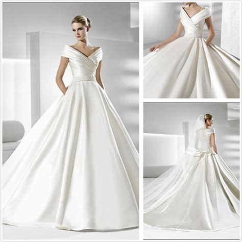 china simple  elegant satin wedding dress xz