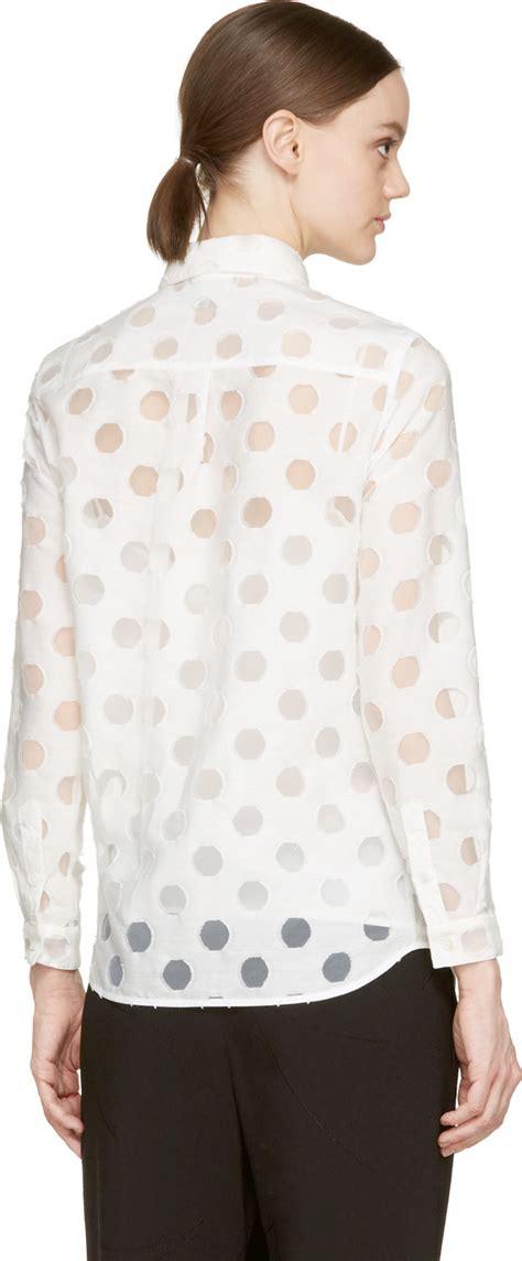Pb8 Polkadot Blouse burberry white sheer polka dot blouse in white lyst