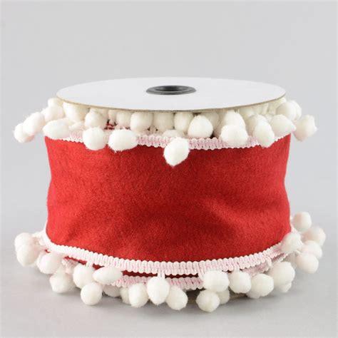 Pom Pom 4 4 quot pom pom ribbon white 5 yards rw498358