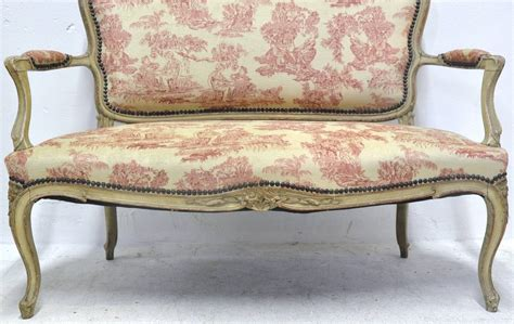 fabric settees 19th century french louis xv carved painted settee with