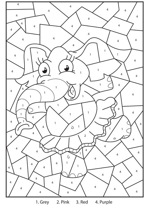 printable coloring pages color by number free printable elephant colour by numbers activity for