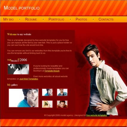 model portfolio template free website templates in css