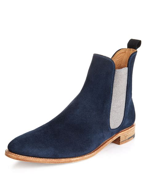 mens blue boots handmade mens chelsea boots fashion blue ankle high