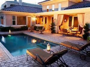 10 Pool Deck And Patio Designs Outdoor Design Neutral Mediterranean Swimming Pool Photos Hgtv