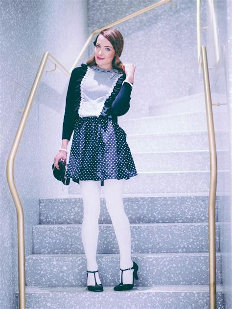 black white dress with tights like a doll at valentino talking white tights dotted dress
