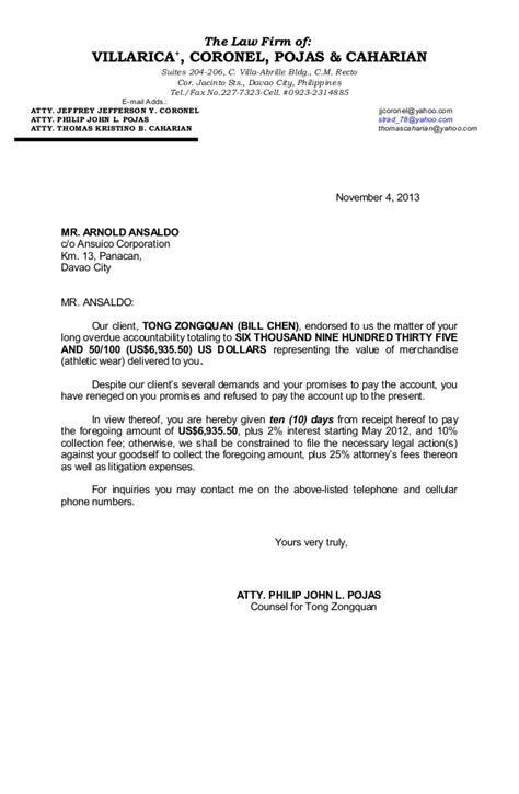 Demand Letter Via Email Arnold Ansaldo Demand Letter