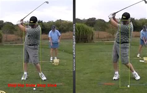 stop sliding in the golf swing stop golf slice fix hip slide cahill golf instruction