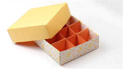 Origami Box With Divider - origami 9 section box divider version paper kawaii