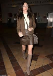 emmy rossum new movie emmy rossum teams knee high leather shoes with matching
