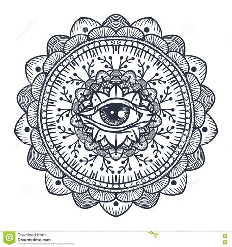 all seeing eye in mandala stock illustration illustration