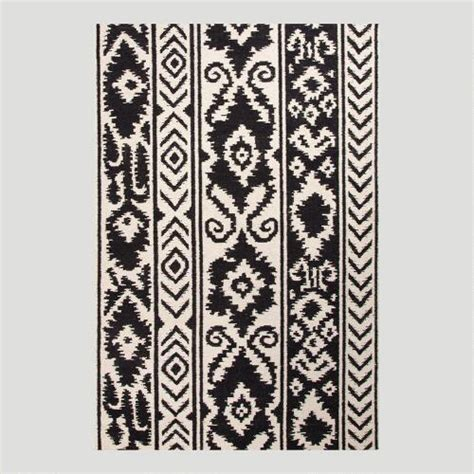 white flat woven rug black and white lucine flat woven wool rug world market