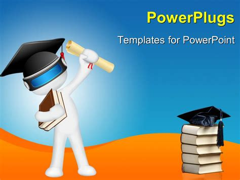 Powerpoint Template White 3d Man With Graduation Cap And Cap On Book Pile 9214 Graduation Powerpoint Template