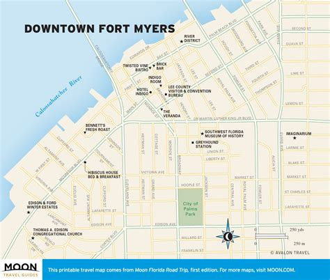 map of florida fort myers travel map of downtown fort myers florida