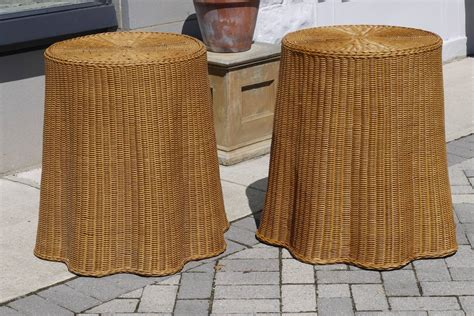 draped table pair of vintage draped wicker end tables at 1stdibs