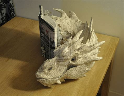 Make Paper Sculpture - artist summons smaug the dragon from pages of the