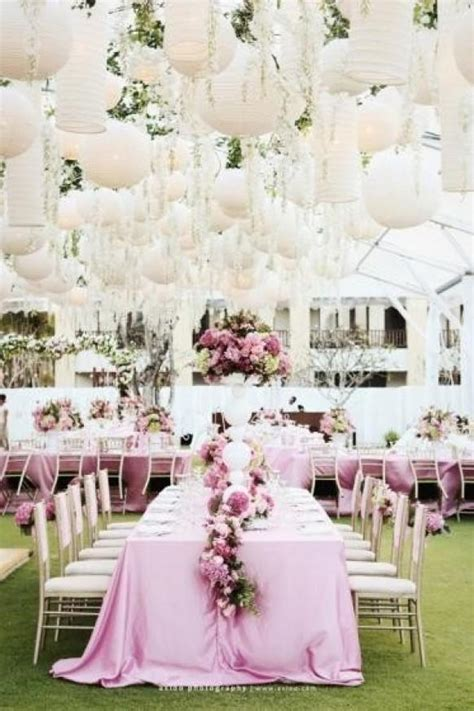 pink garden wedding decoration white paper