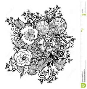 zen doodle bouquet of flowers black on white stock vector