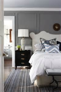White Beadboard Bed - studded headboard transitional bedroom para paints