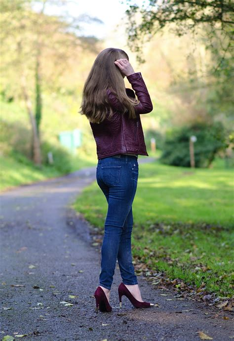 berry faux leather jacket  skinny jeans