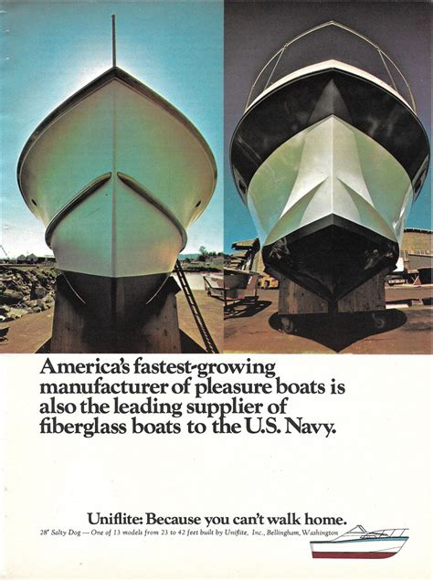 salty dog boat magazine 1973 uniflite 28 salty dog yacht 2 page color ad nice photo