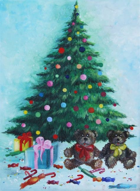 Home Decor Stores Toronto by Christmas Tree With Gifts Acrylic Painting On Canvas By Christina