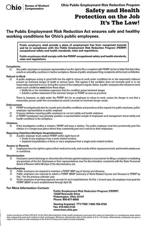 appointment letter health and safety representatives perrp poster cleveland state