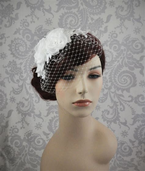 Handmade Birdcage Veil - birdcage veil handmade silk flowers and lace bird cage veil