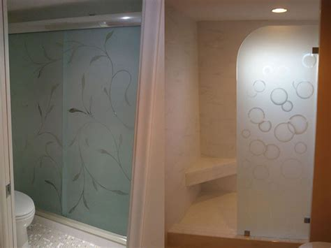 Etched Glass Shower Door Designs Etched Glass Shower Doors