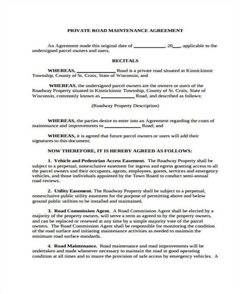 road agreement template sle road maintenance agreement forms 6 free