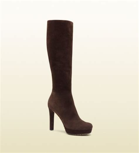 gucci anouk brown suede high heel boot in brown lyst