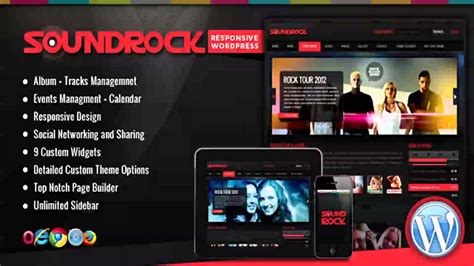 theme wordpress video youtube free sound rock music band wordpress theme website
