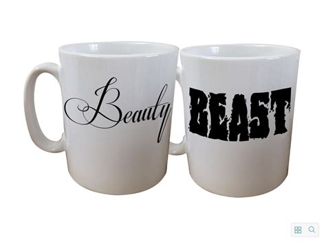 his and hers mugs set beauty and beast couples christmas
