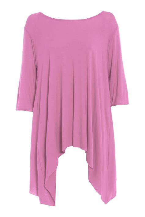 swing top dress womens waterfall hanky hem ladies plus size plain flared