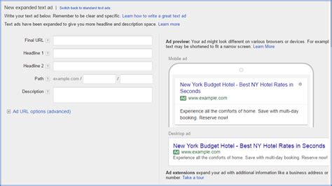 Google Adwords Expanded Text Ads Expanded Text Ads Template