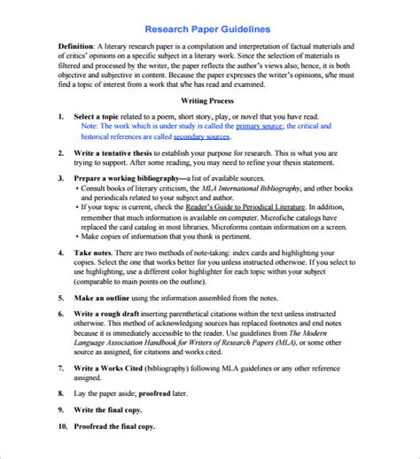 research outline template research outline template 10 free sle exle