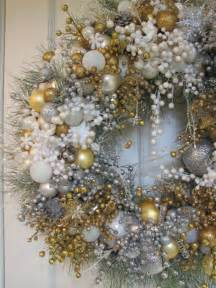 white silver gold heirloom christmas wreath christmas