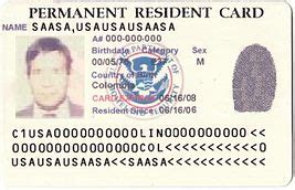 resident green card template permanent residence united states