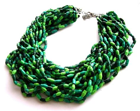green necklace paper statement necklace green jewelry eco