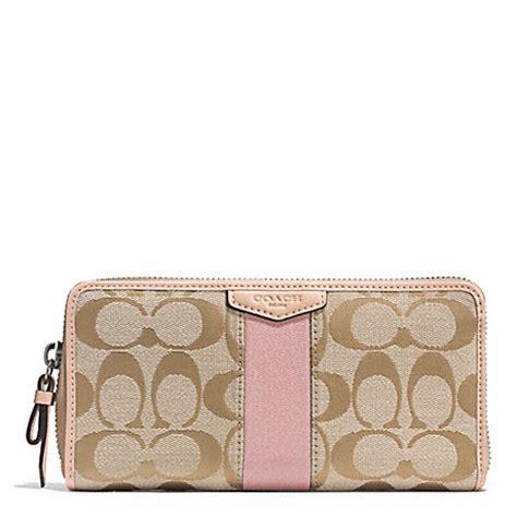light pink coach wallet coach f49892 signature stripe accordion zip wallet