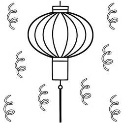 Chinese Lantern With Streamers  Coloring Page New Year sketch template