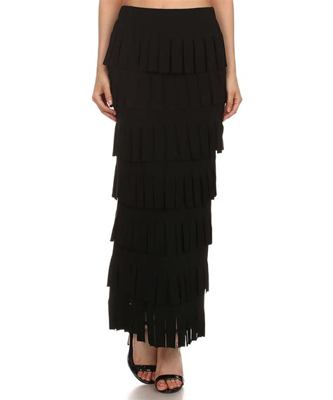 black tiered maxi skirt zulily
