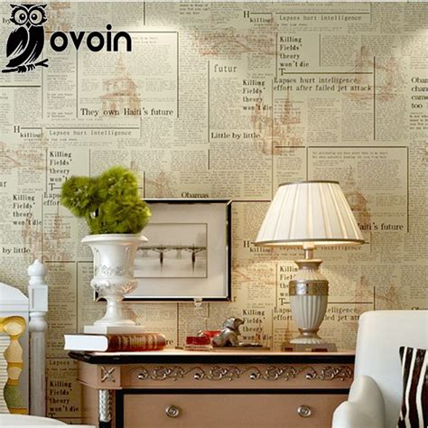 beige vintage letters wallpaper roll pvc newspaper