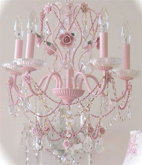 Vintage Pretty In Pink Crystal Chandelier Femininely Pink Chandelier For Room
