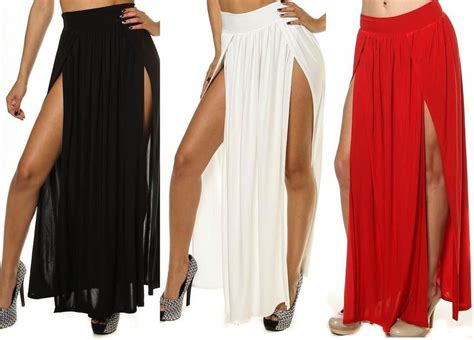 high waist thigh high slit maxi skirt