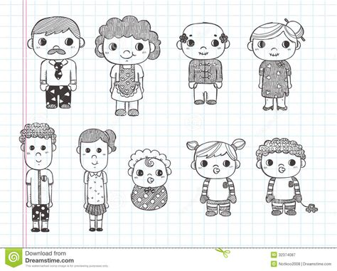 Doodle Family Icons Illustrator Line Tools Drawin Stock