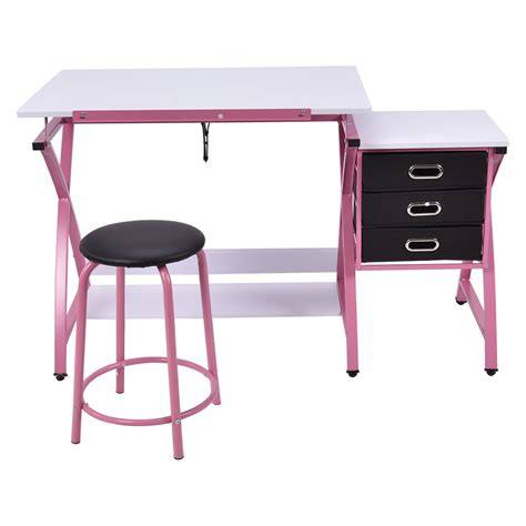 Collapsible Drafting Table Us Drafting Table Craft Drawing Desk Hobby Folding Adjustable W Stool Ebay